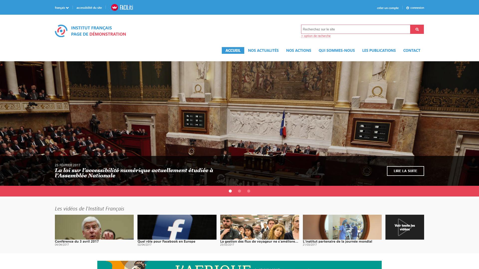 Une page d'accueil d'un site de démonstration sans FACIL'iti activé