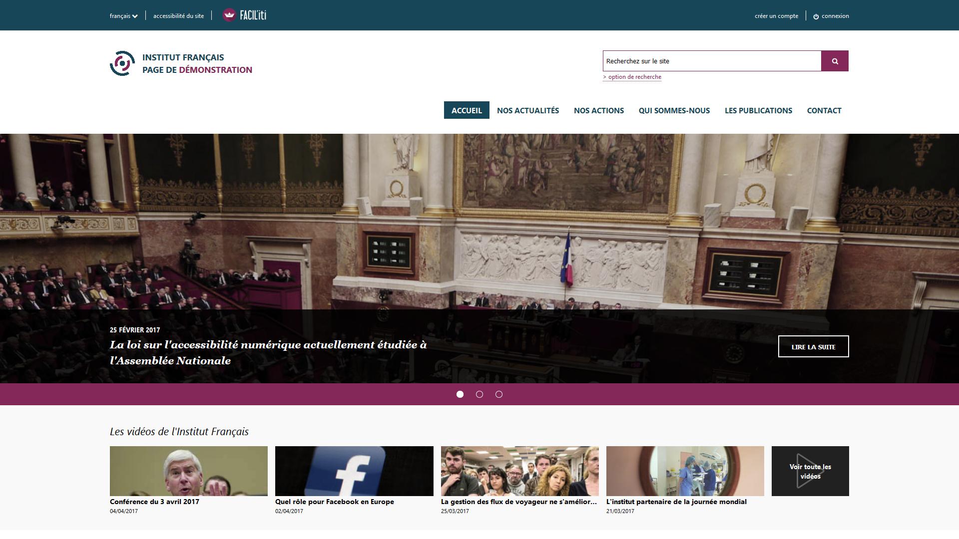 Une page d'accueil d'un site de démonstration avec FACIL'iti activé pour la pathologie Deuteranopie
