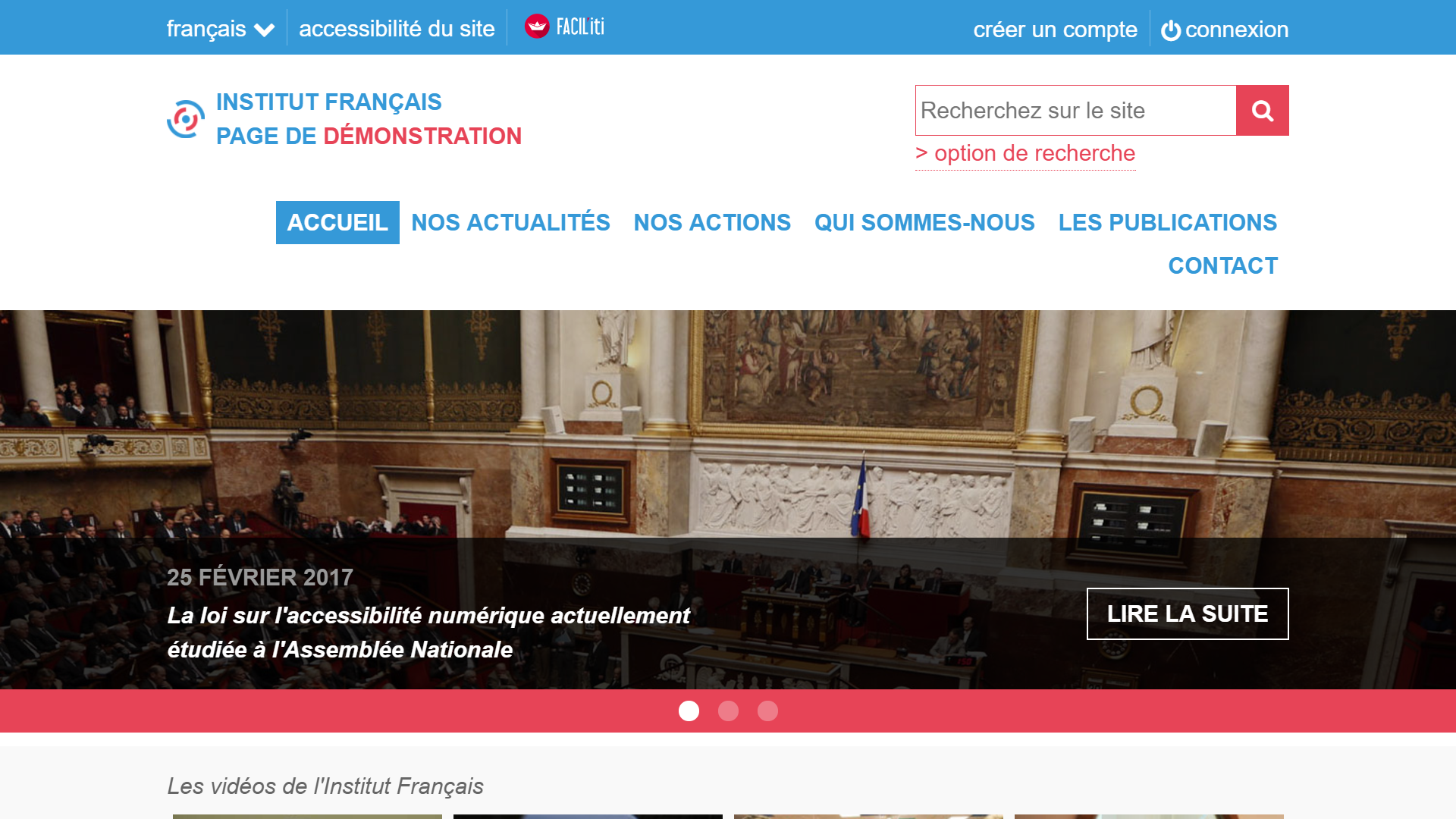 """Une page d'accueil d'un site de démonstration avec FACIL'iti activé pour la pathologie """"Dégénérescence maculaire liée à l'âge (DMLA)"""" est verrouillé Dégénérescence maculaire liée à l'âge (DMLA)"""