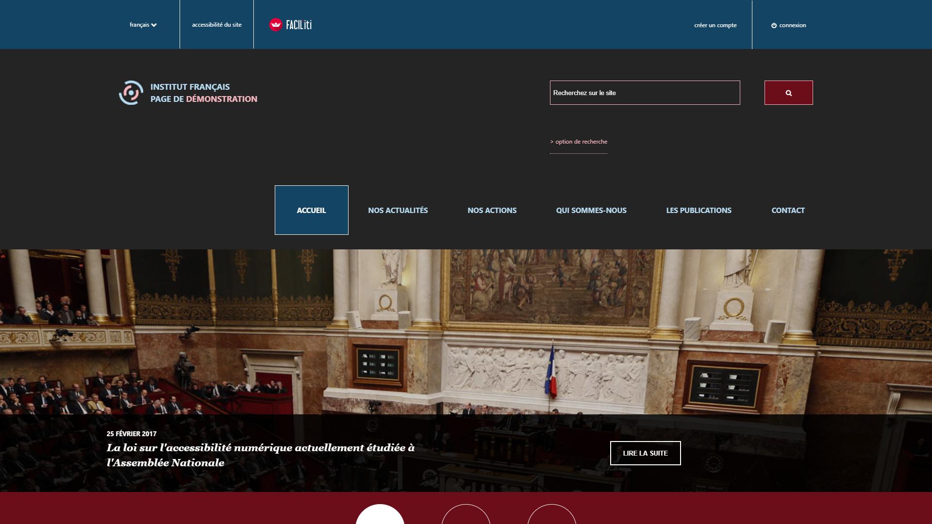 Une page d'accueil d'un site de démonstration avec FACIL'iti activé pour la pathologie maladie de Wilson